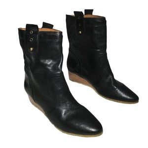 Frye Women's Black Leather Wedge Boots Size 9.5